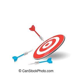 a, seta vermelha, atingido, golpe, centro, alvo