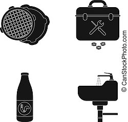 A sewer hatch, a tool box, a wash basin and other equipment.Plumbing set collection icons in black style vector symbol stock illustration web.