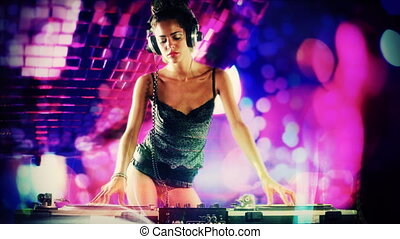 a sexy female dj dancing and playing records with disco style background