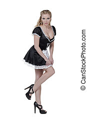 a sexy french maid - Portrait of a sexy French maid against...