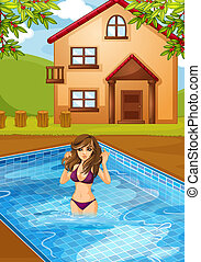 A sexy girl at the swimming pool - Illustration of a sexy...
