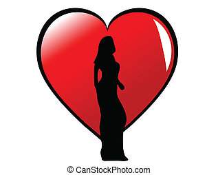 A sexy girl in silhouette standing in front of a large red heart, isolated on white
