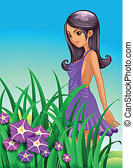 A sexy lady wearing a purple dress standing near the garden