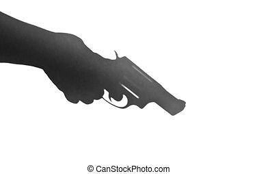 A shadow of a revolver being held