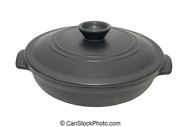 pan - a shallow iron pan on a white background