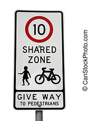A shared zone traffic sign isolated on white