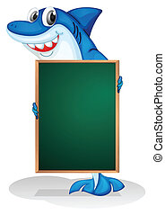 A shark holding an empty board