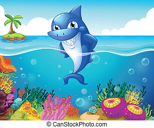A shark in the deep sea smiling - Illustration of a shark in...