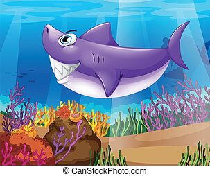 A shark smiling at the bottom of the sea - Illustration of a...