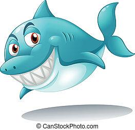 A shark smiling