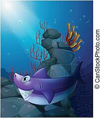 A shark under the sea near the rocks - Illustration of a...