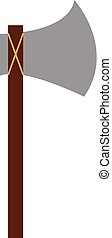 A sharp axe with long wooden handle used for chopping woods vector color drawing or illustration
