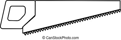 A sharp construction black and white icon of a hand saw, a hacksaw with teeth and a handle for cutting wood. Construction tool. Vector illustration on white background