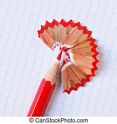 red coloured pencil - a sharpened red coloured pencil with...