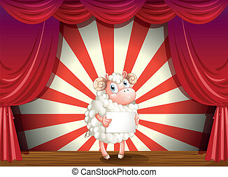 A sheep at the stage holding an empty signage