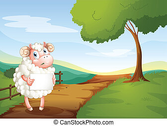 A sheep holding an empty signboard at the road