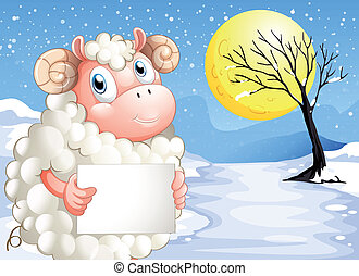 A sheep in the snow with an empty signage