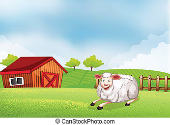A sheep lying on the farm with a barn