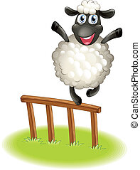 A sheep standing above the wooden fence