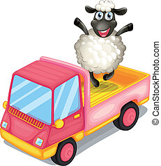 A sheep standing at the back of a truck