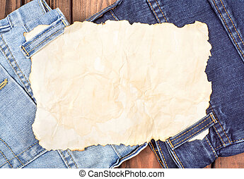 a sheet of paper on the jeans