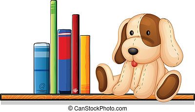 A shelf with books and a toy - Illustration of a shelf with...