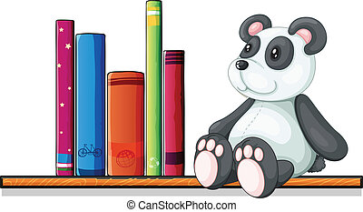 A shelf with books and a toy panda
