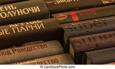 A shelf with books