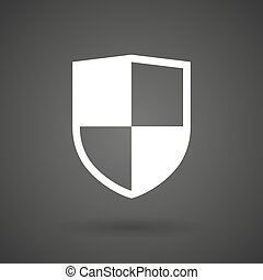 a shield white icon on a dark background