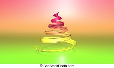 A shiny festive ribbon forms a Christmas tree symbol that rotates. 3d render of Christmas bright composition. Seamless looped animation. green yellow red gradient ribbon and gradient background. 4