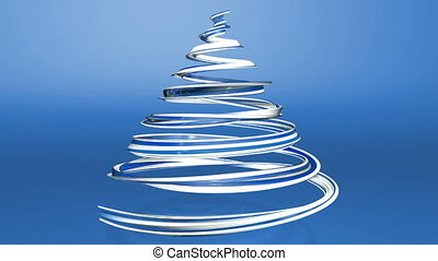 A shiny festive ribbon forms a Christmas tree symbol that rotates. 3d render of Christmas bright juicy composition. Seamless looped animation. Blue white ribbon on blue background. 2