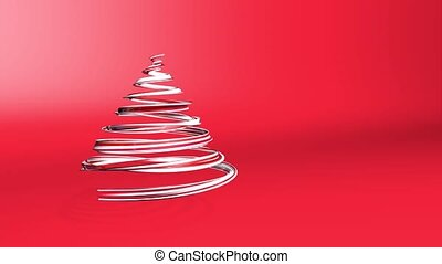 A shiny festive ribbon forms a Christmas tree symbol that rotates. 3d render of Christmas bright juicy composition. Seamless looped animation. Red white ribbon on red background. 2