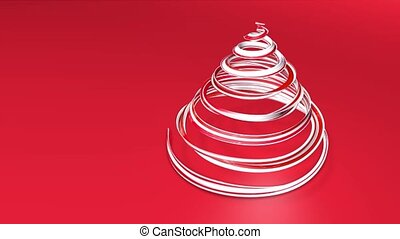 A shiny festive ribbon forms a Christmas tree symbol that rotates. 3d render of Christmas bright juicy composition. Seamless looped animation. Red white ribbon on red background. 4