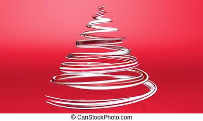 A shiny festive ribbon forms a Christmas tree symbol that rotates. 3d render of Christmas bright juicy composition. Seamless looped animation. Red white ribbon on red background. 1