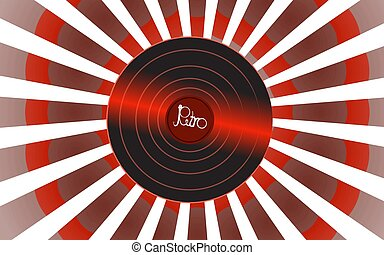 A shiny vinyl musical analogue retro old antique hipster vintage gramophone record for a vinyl gramophone and an inscription retro against a white abstract ray. Vector illustration