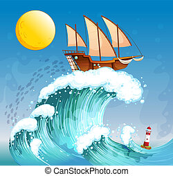 A ship above the giant waves