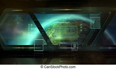 A ship in orbit and infographics - The spacecraft flies to...
