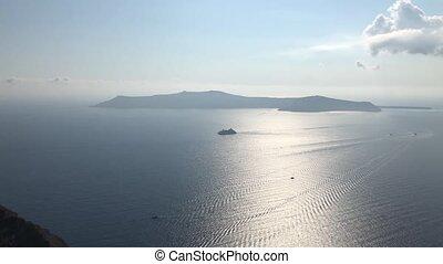 A Ship Near Santorini Island