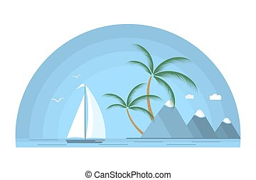 A ship with a white sail against the background of a tropical island with palm trees and mountains. Seascape.