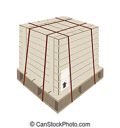 A Shipping Box with Steel Strapping on Pallet - An...
