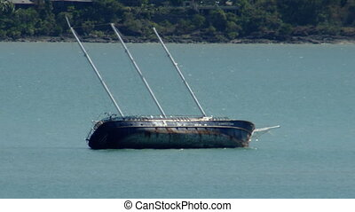 A shipwreck in the sea - A still shot of a shipwreck. The...