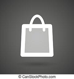 a shopping bag white icon on a dark background