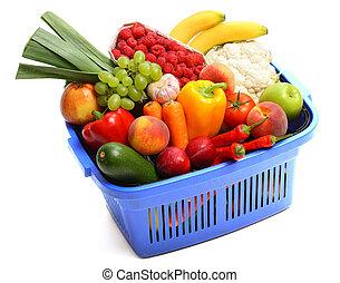 A shopping basket full of fresh produce