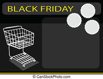 A Shopping Cart on Black Friday Background - Shopping Cart...