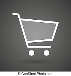 a shopping cart white icon on a dark background
