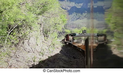 a shot from the el chepe train which passes through the incredible copper canyon (Barrancas del Cobre), northern mexico
