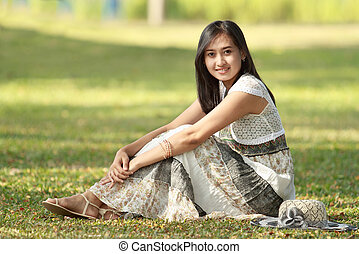 beautiful asian woman outdoor