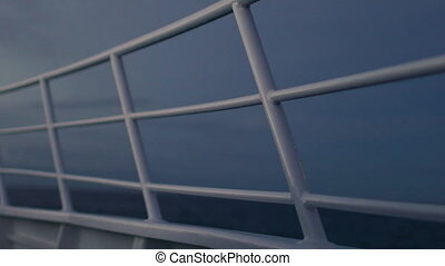 A shot of a boat's railings - A medium shot of railings of a...