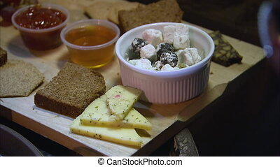 A shot of a cheese platter - A close up shot of a very...