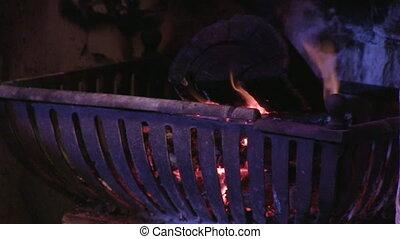 A shot of a fireplace